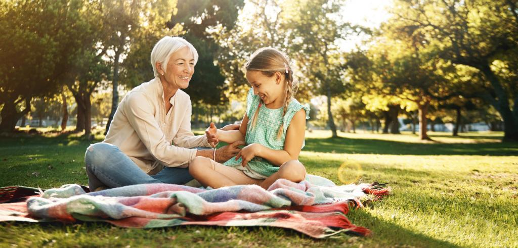 Picnic with grandmother and granddaughter