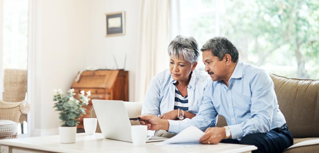 Senior couple planning retirement