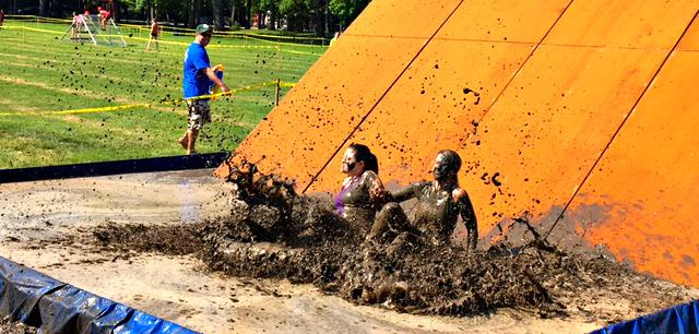 Mud slide at Assante Dirty Dash 2018